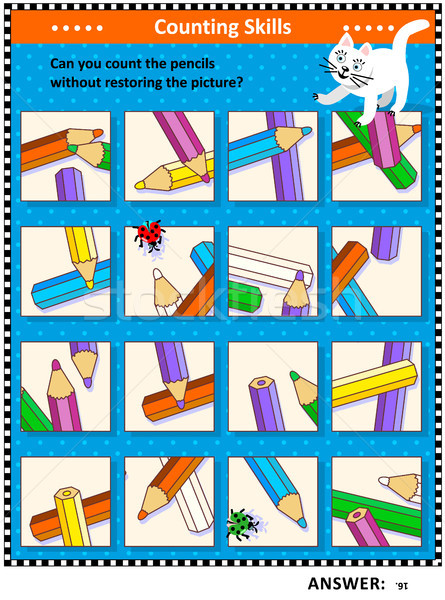 Counting pencils visual logic puzzle Stock photo © ratselmeister