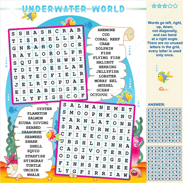Underwater world word search puzzle Stock photo © ratselmeister