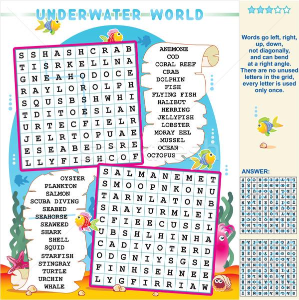 Subaquático mundo palavra pesquisar quebra-cabeça ziguezague Foto stock © ratselmeister