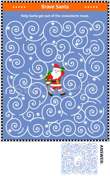 Stock photo: Winter blizzard maze game with Santa