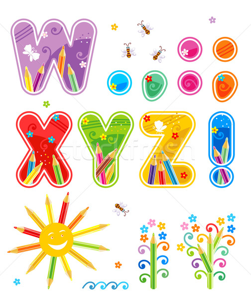 Stock photo: Spring or summer alphabet set letters W - Z, marks of punctuation, design elements