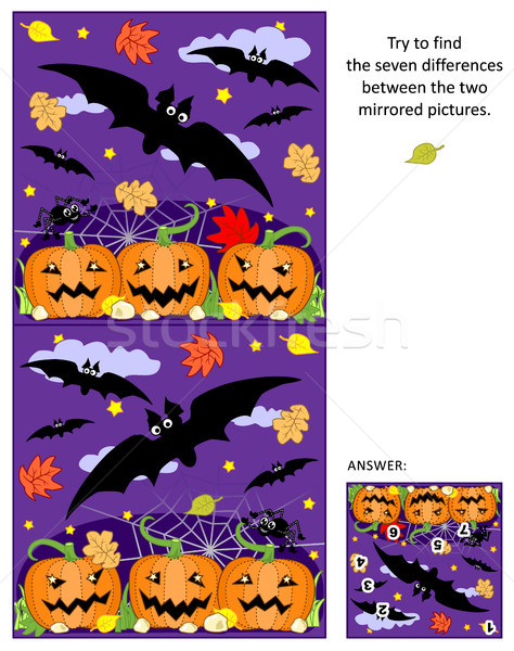 Halloween find the differences between the mirrored pictures puzzle with flying bats and pumpkin fie Stock photo © ratselmeister