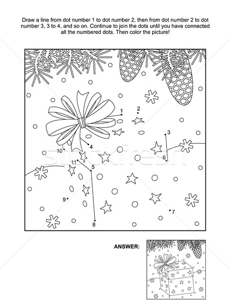 Dot-to-dot and coloring page - christmas gift box Stock photo © ratselmeister