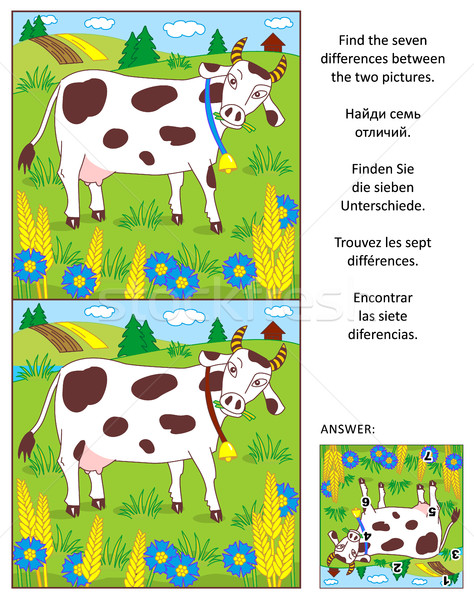 Trouver différences photos puzzle lait vache Photo stock © ratselmeister