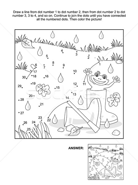 Dot-to-dot and coloring page - umbrella, gumboots, frog Stock photo © ratselmeister
