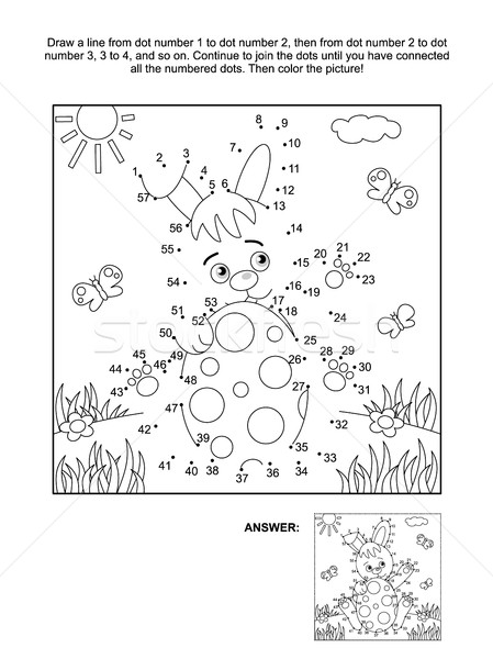 Dot-to-dot and coloring page with bunny and egg Stock photo © ratselmeister