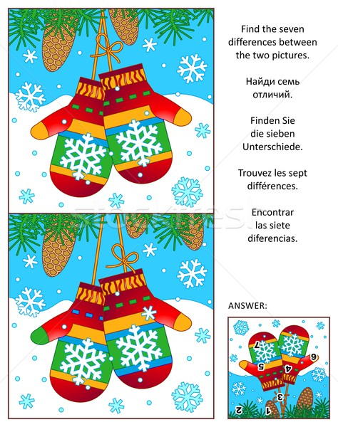 Winter find the differences picture puzzle with mittens Stock photo © ratselmeister