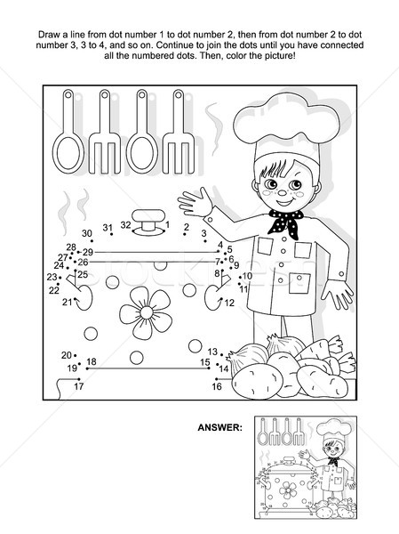 Dot-to-dot and coloring page with young chef Stock photo © ratselmeister