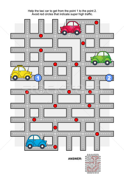 Road maze with taxi car Stock photo © ratselmeister