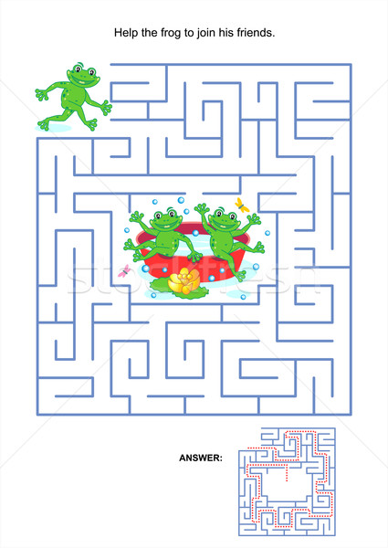 Maze game for kids - playful frogs Stock photo © ratselmeister