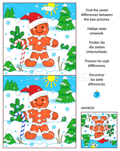 Holiday find the differences picture puzzle with ginger man Stock photo © ratselmeister