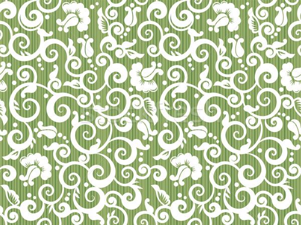 Repetir patrón floral blanco verde sin costura Foto stock © ratselmeister