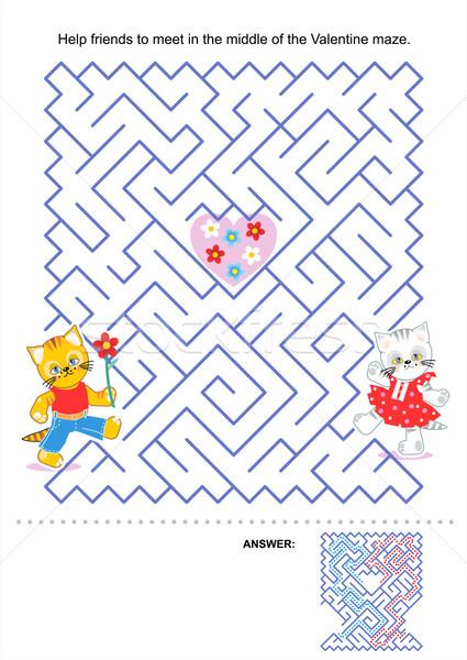 Labirinto jogo crianças valentine gatinhos ajudar Foto stock © ratselmeister