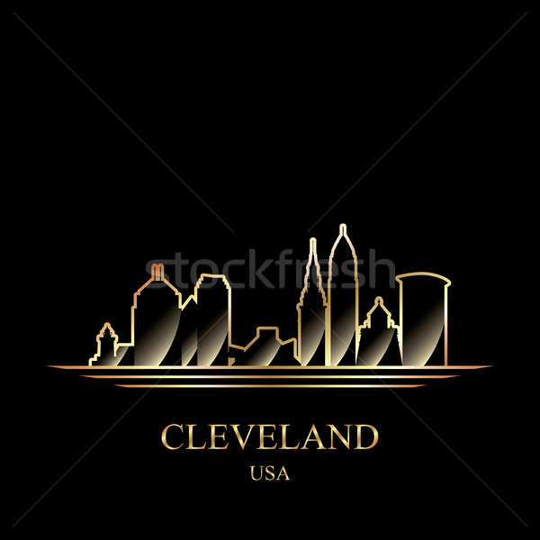 Gold silhouette of Cleveland on black background Stock photo © Ray_of_Light