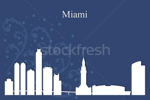 Miami városkép sziluett kék épület sziluett Stock fotó © Ray_of_Light