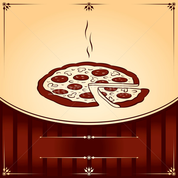 горячей пиццы вектора графических иллюстрация место Сток-фото © Ray_of_Light