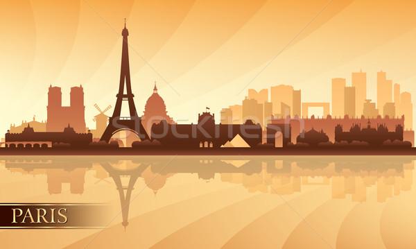 パリ シルエット 空 建物 日の出 ストックフォト © Ray_of_Light