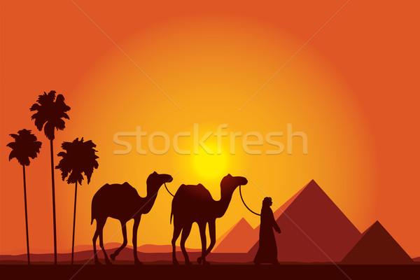 Egyiptom nagyszerű piramisok teve karaván naplemente Stock fotó © Ray_of_Light
