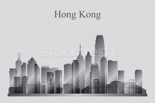 Hong Kong city skyline silhouette in grayscale Stock photo © Ray_of_Light