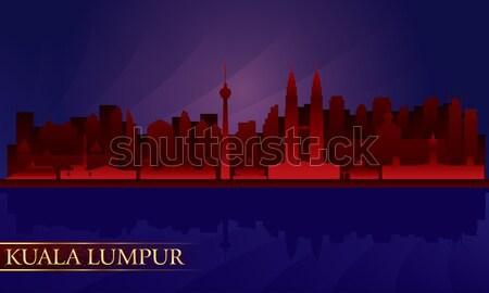 Peking éjszaka városkép vektor sziluett illusztráció Stock fotó © Ray_of_Light
