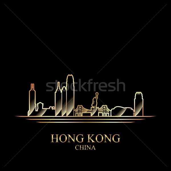 Arany sziluett Hongkong fekete sziluett építészet Stock fotó © Ray_of_Light