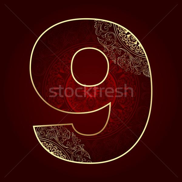 Klasszikus szám virágmintás örvények felirat arany Stock fotó © Ray_of_Light