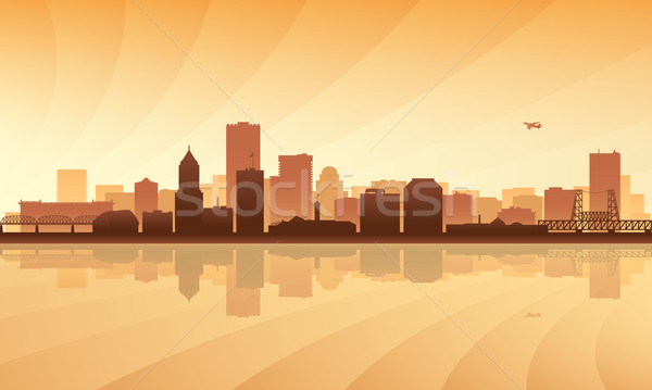 Városkép sziluett épület napfelkelte sziluett fények Stock fotó © Ray_of_Light