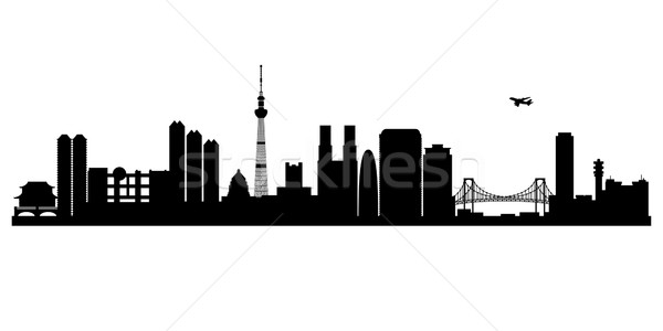 Tokió város sziluett vektor sziluett illusztráció Stock fotó © Ray_of_Light