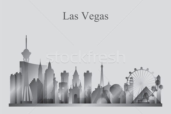 Las Vegas city skyline silhouette in grayscale Stock photo © Ray_of_Light