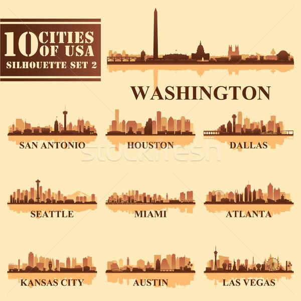 Siluetas ciudades EUA establecer viaje horizonte Foto stock © Ray_of_Light
