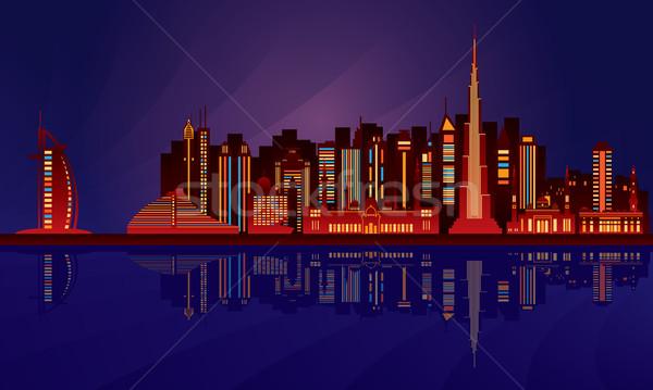 Dubai éjszaka városkép vektor sziluett illusztráció Stock fotó © Ray_of_Light