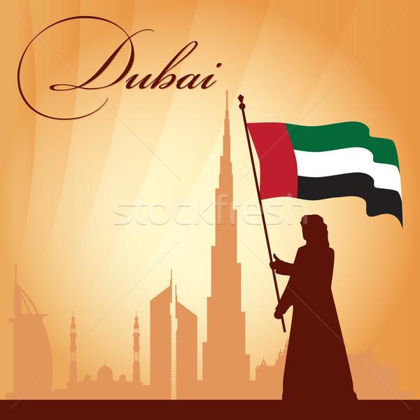 Dubai city skyline silhouette background Stock photo © Ray_of_Light