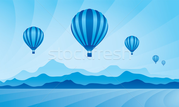 Léggömb égbolt vektor sziluett illusztráció háttér Stock fotó © Ray_of_Light