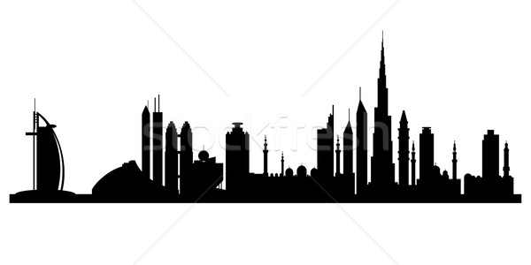 Dubaï ville silhouette vecteur Skyline illustration Photo stock © Ray_of_Light