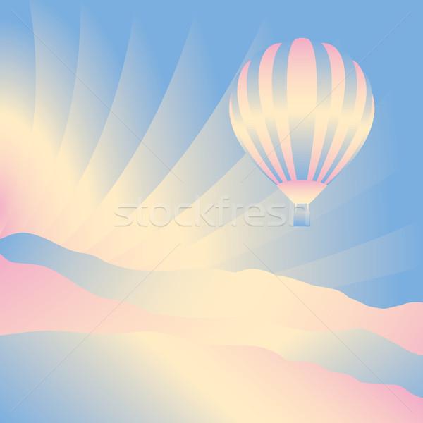 Stock fotó: Léggömb · égbolt · vektor · sziluett · illusztráció · háttér