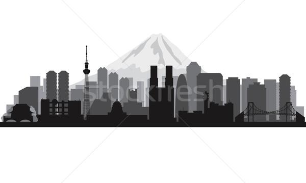 Tokió városkép sziluett vektor illusztráció épület Stock fotó © Ray_of_Light