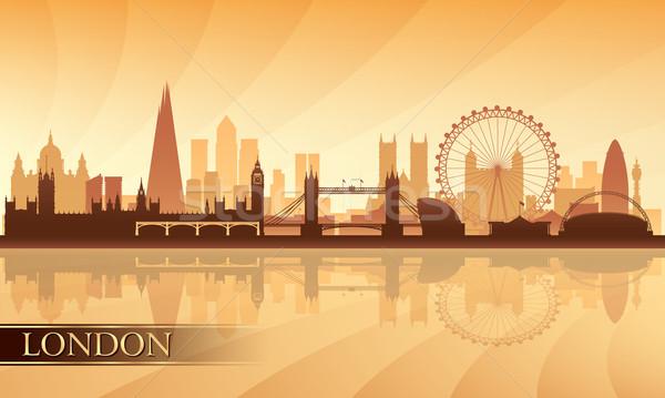 London városkép sziluett égbolt épület naplemente Stock fotó © Ray_of_Light