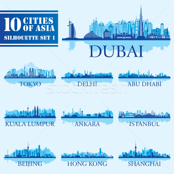 Stock photo: Set of skyline cities silhouettes. 10 cities of Asia 1