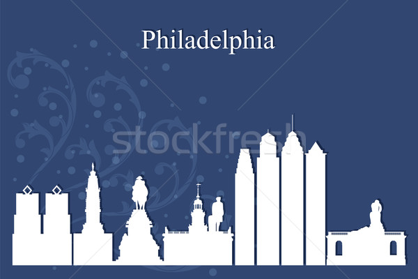 Philadelphia city skyline silhouette on blue background Stock photo © Ray_of_Light