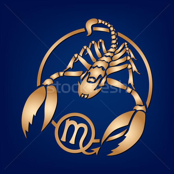 Scorpione zodiaco segno vettore blu sfondo Foto d'archivio © Ray_of_Light