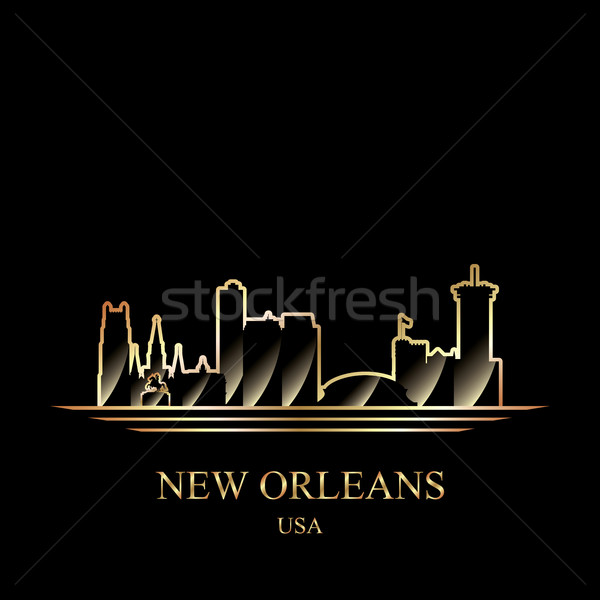 Stock photo: Gold silhouette of New Orleans on black background