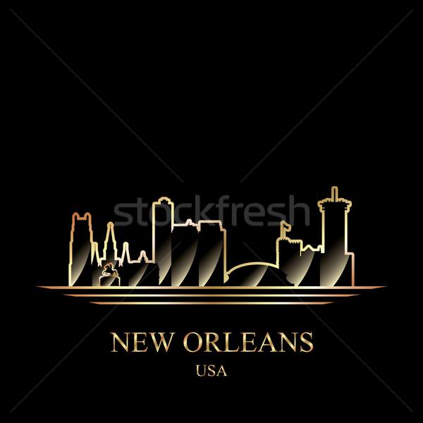 Arany sziluett New Orleans fekete épület sziluett Stock fotó © Ray_of_Light