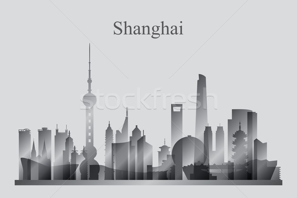 Shanghai silueta edificio viaje horizonte Foto stock © Ray_of_Light