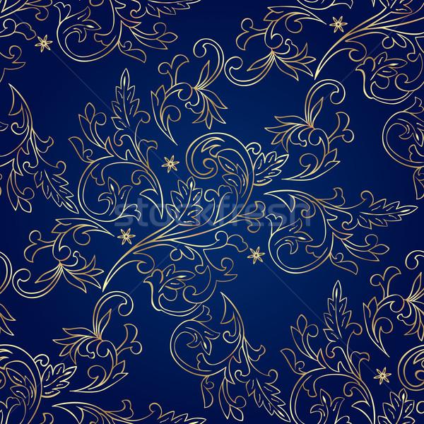 Stock fotó: Virágmintás · klasszikus · végtelen · minta · kék · virág · absztrakt