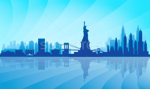 Stock fotó: New · York · sziluett · részletes · sziluett · város · háttér