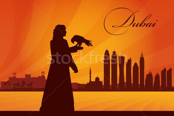 Dubai városkép sziluett nap utazás hotel Stock fotó © Ray_of_Light