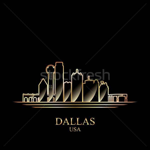 Stockfoto: Goud · silhouet · Dallas · zwarte · skyline · architectuur
