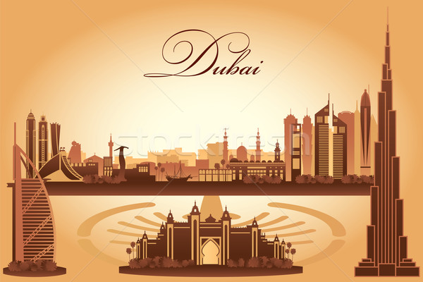 Zdjęcia stock: Dubai · sylwetka · słońce · podróży · hotel