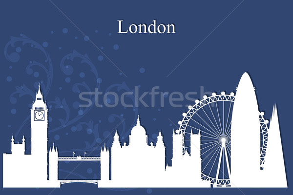 Foto stock: Londres · silhueta · azul · edifício · neve
