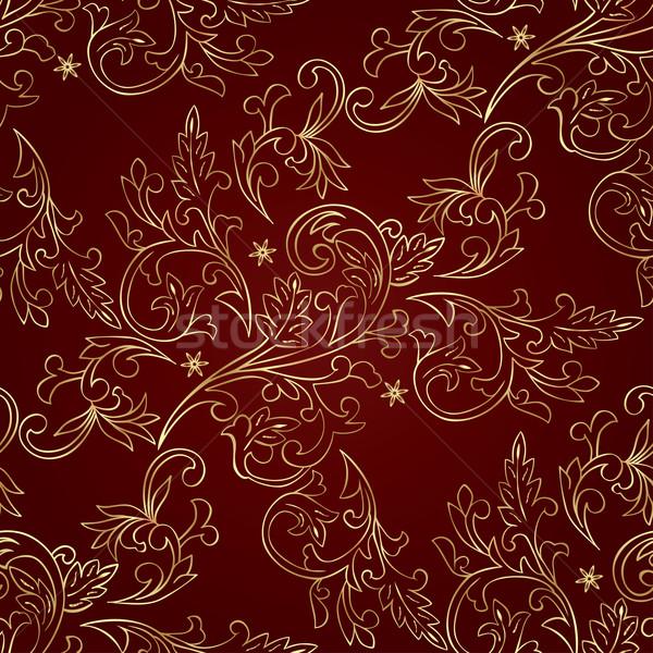 Piros arany virágmintás klasszikus végtelen minta vektor Stock fotó © Ray_of_Light